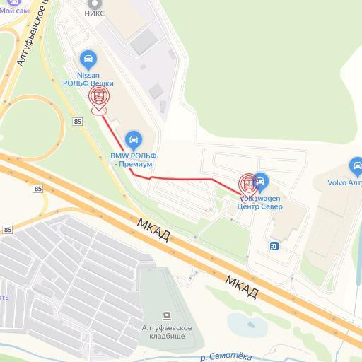 Место остановки/стоянки автобуса РОЛЬФ Вешки и РОЛЬФ Север.